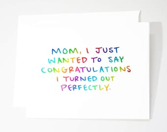 Funny Mothers Day Card / Real Rainbow Foil