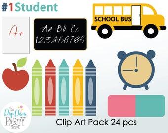 School Digital Scrapbooking Clip Art, Buy 2 Get 1 FREE. Instant Download
