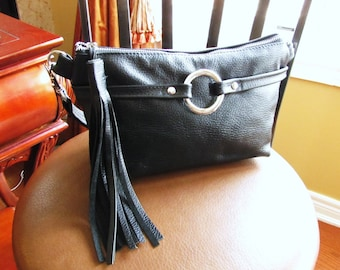 Black Leather Fanny Pack with tassel, waist pouch, 3 way leather bag, Small black bag, hip bag, black hand-freed bag