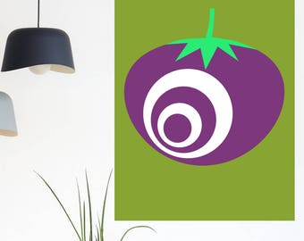 Modern retro tomato digital print, ideal for kitchen decor. Contemporary wall art. Minimalist design. Moss green and aubergine kitchen art.