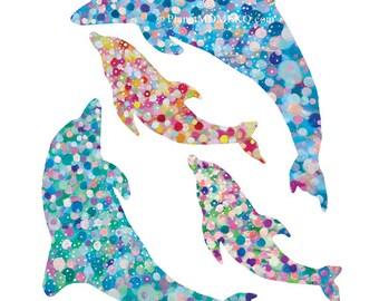 Sweet Dolphin Family -  Dophin Art Print, Dophin nursery wall art, Dolphin Kids wall art, Home decor, Dolphin painting, Dophin illustration
