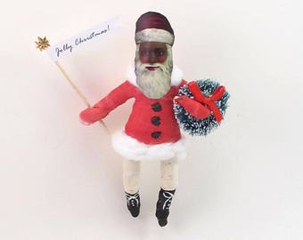 Vintage Inspired Spun Cotton Black Santa Ornament (MADE TO ORDER)