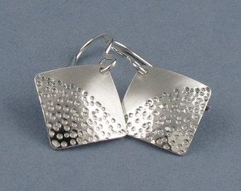 """Zen Silver Square Earrings, """"Zen Sand Earrings"""""""