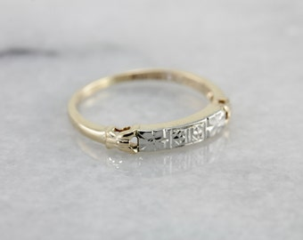 Retro Era Mixed Metal Floral Band, Forget Me Not band in Yellow and White Gold NFJHF5-N