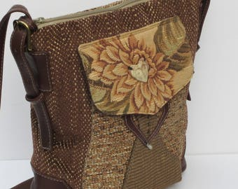 LARGE SHOULDER SATCHEL  by Elizabeth Z Mow  Fabric and Leather Demure Dahlia