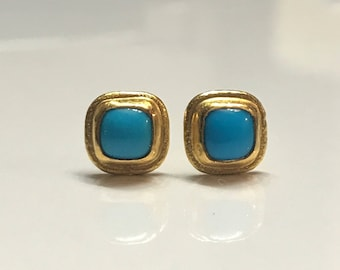 24k Sleeping Beauty Turquoise Stud Earrings