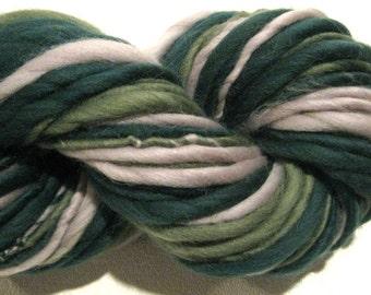 HALF OFF SALE Super Bulky Handspun Yarn Green and Grey 66 yards green yarn gray yarn waldorf doll hair knitting supplies crochet supplies