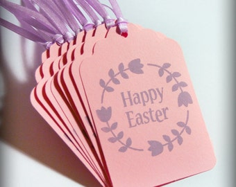 Happy Easter Tag Set 10 Blank holiday gift present tag treat favor