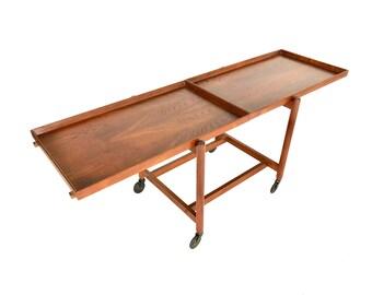 ON SALE - Danish Modern Extendable Teak Serving Bar Cart by Poul Hundevad - Mid Century Modular Bar Cart