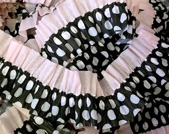 Baby Pink and Black with White Polka Dots Ruffled Crepe Paper Streamers -  36 Feet - Party Hanging Decoration Supplies