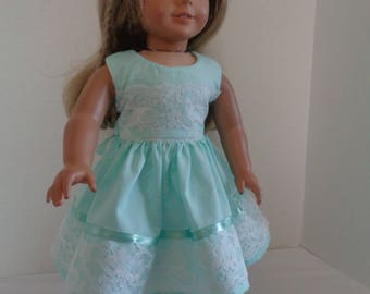 18 Inch Doll Clothes/18 Inch Doll Dress/Green Doll Dress with White Flowers/Ribbon and Lace