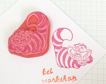 CHESHIRE CAT - Hand Carved Rubber Stamps/Handmade Carving/Alice Wonderland/Anime/Cartoon
