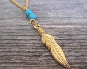 Men Necklace - Men Feather Necklace - Men Beaded Necklace - Men Gold Necklace - Men Jewelry - Men Gift - Boyfriend Gift - Husband Gift