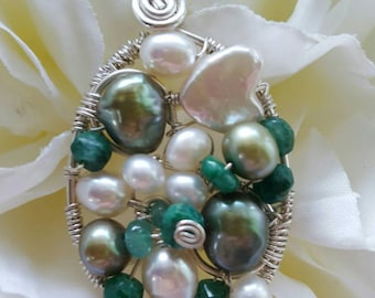 PENDANT Emerald Pearl Wire wrapped Oval Sterling silver Pendant