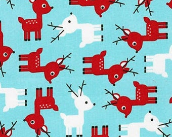 Jingle 3 Reindeer Flannel  Christmas Cotton Quilt Fabric Robert Kaufman By the Yard
