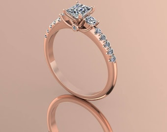 14K Rose Gold  Diamond  Center Stone Ring    K-RG1022