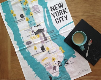New York Tea Towel / Gifts For Travelers / New York City Map / Map Of Manhattan / NYC Map / Travel Gift / Illustrated Map / Retro Map