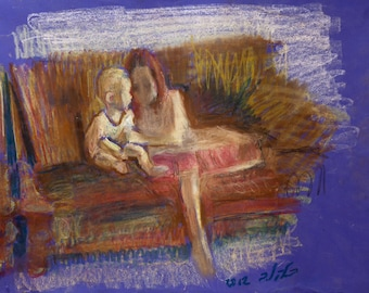 Original Pastel on Paper Signed Painting by Leonid Balaklav  Sisters on a Couch Unique Art