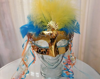Gold Mask with Feathers and Ribbons