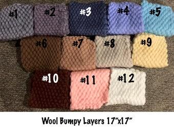 "Wool Bumpy Blankets 17""x17"" Newborn Photography Wool Layers"