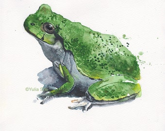 Original watercolor painting frog 11x9 1/2""