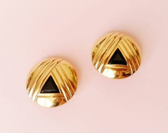 Vintage Lanvin clip on earrings, gold plated and black triangle