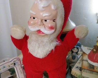 Vintage Wind Up Musical Rubber Face Santa Claus Toy, Stuffed Santa Doll, Mid Century Christmas, Holiday Toys, Frere Jacque, Saint Nick