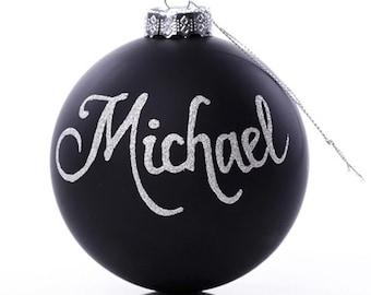 Personalised Black Glass Christmas Bauble - Medium