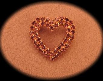 Beautiful Purple Rhinestone Heart Pin 1980-90s