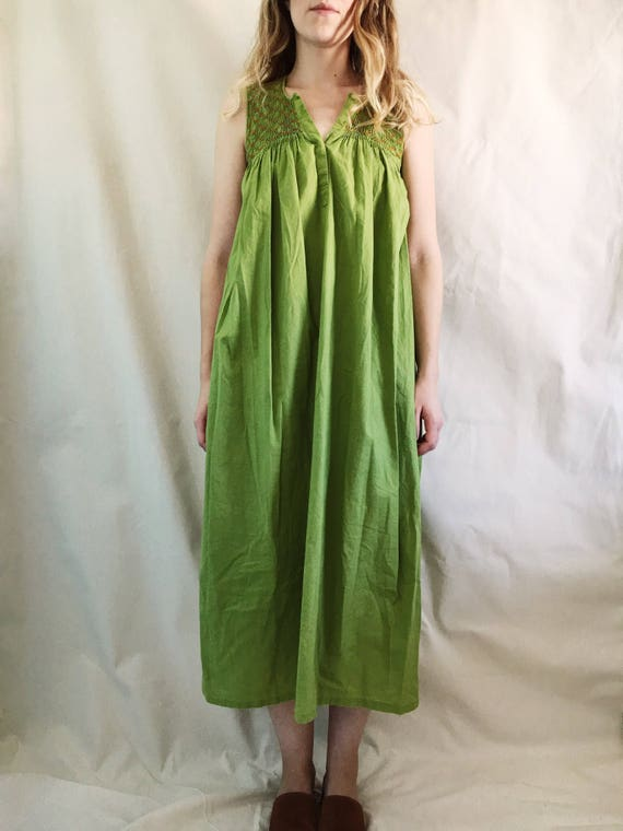 Vintage Green Embroidered Maxi