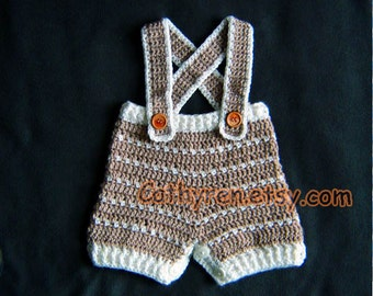 Baby Shorts/Diaper Cover with Suspenders, Buttons at Legs for Easy Change-INSTANT DOWNLOAD Crochet Pattern