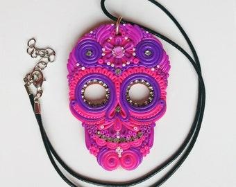 Sugar Skull Pendant, Large Pink Mexican Skull Necklace, Calavera Mexico Catrina Dia de los Muertos, polymer clay