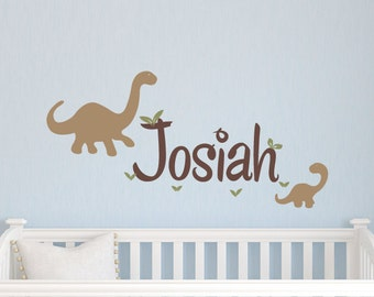 Dinosaur Name Decal, Dinosaur Nursery Decor, Baby Boy Name Decals, Boy Bedroom Decor, Dinosaur Wall Stickers