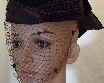Vintage Hat by Whittall & Javits Brown Velvet Pillbox Hat with Netting and Bow