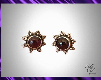 Sunburst Garnet and Sterling Earrings