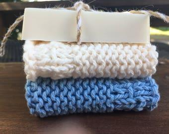 Washcloth and handmade soap