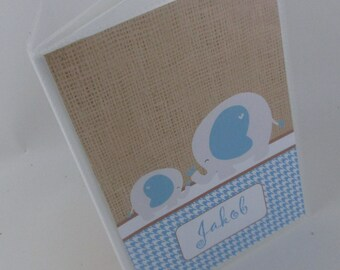 baby photo album, rustic burlap baby shower gift, baby boy album, blue elephant photo album personalized photo album- 4x6 or 5x7 502