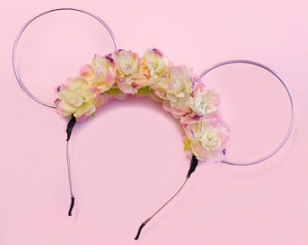 Blush and Lavender Glower Crown with Lilac Wire Mouse Ears