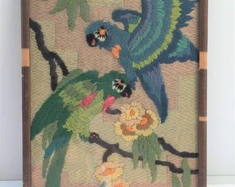 Vintage Parrot Textile--Parrot Crewel Work Picture--Framed Parrot Needlework--Vintage Parrot Picture--Vintage Parrot Artwork