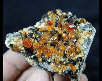 Gemmy Spessartine Garnet on Smoky Quartz Mineral Specimen China 662086