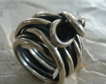 Chunky Silver Ring, Sterling Silver Ring, Wire Wrapped Silver Ring, Wide Silver Ring, Organic Ring, Statement Ring, Statement Silver Ring.