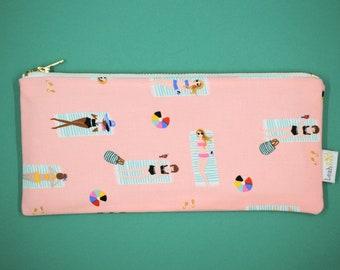Pink Pencil Case, Rifle Paper Co Zipper Pouch, Summer Pencil Pouch, Coral Pen Case, Makeup Brush Pouch, Art Supply Case Beach Pouch