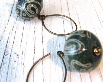 Teal Paisley Earrings Murano Glass Earrings