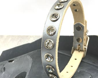 Small Leather Dog Collar - Rhinestone Crystal Studs on Metallic Silver Leather, Size S, to fit a 9-12 Neck, Seattle Handmade, OOAK