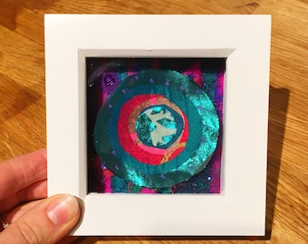 Framed abstract textile art: unique, jade circles wool felt and recycled fabric picture