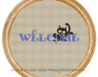 Cross Stitch Pattern PDF cat and mouses welcome  DD0192
