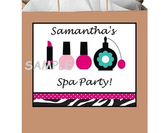 18 Personalized Spa Party Stickers,Birthday Favors,Bag Box Labels,Supplies,Shower,Spa Day, Tags,Custom Made