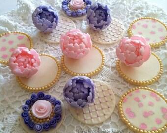 Set of mini peonies cupcake toppers(6)