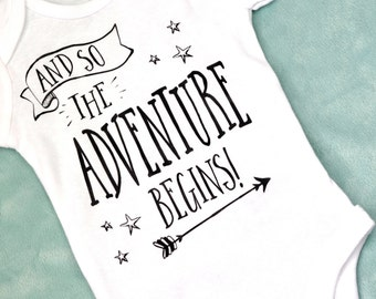 And so the adventure begins bodysuit- coming home outfit- baby boy outfit- baby girl outfit- baby shower gift- baby bodysuit- xz