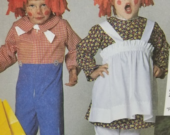 Mccalls Costumes 7743 Raggedy Ann and Raggedy Andy Pattern Childs Size 2,4, Chest/Bust 21-23